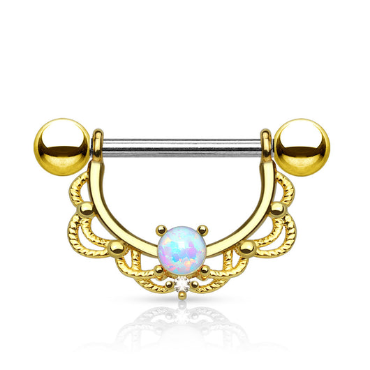 Pair of Opal Filigree Drop Surgical Steel Barbell Nipple Rings
