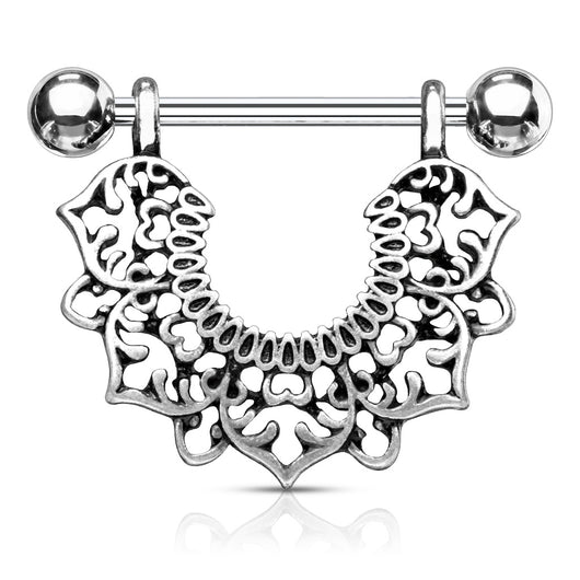 Pair of Filigree Flower Dangle Surgical Steel Barbell Nipple Rings