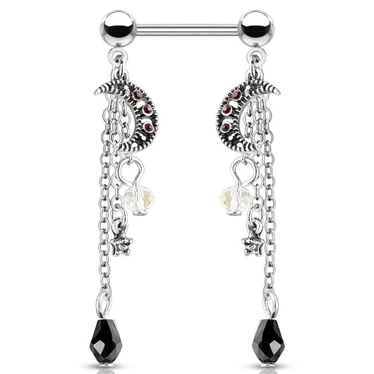Pair Of CZ Antique Silver Plated Moon Star Beads Chain Nipple Barbells Rings
