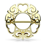 Pair of Tribal Hearts Hollow Nipple Shield Ring