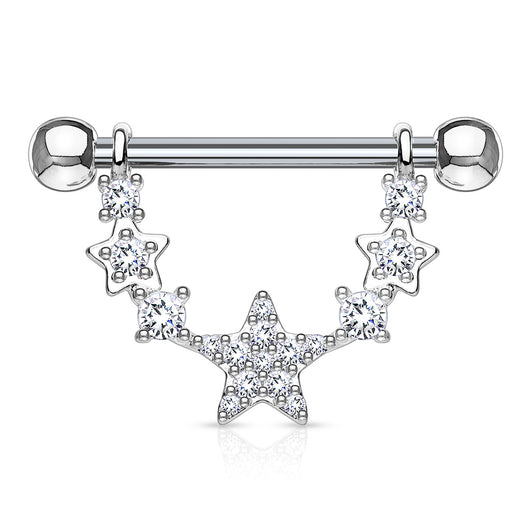 Pair of CZ Star Surgical Steel Barbell Nipple Rings