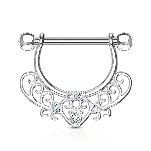 Pair of CZ Heart Filigree Dangle Surgical Steel Barbell Nipple Rings