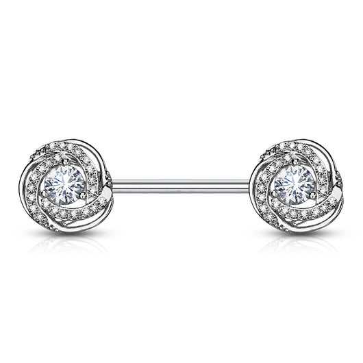 Pair of CZ Rose Surgical Steel Barbell Nipple Rings