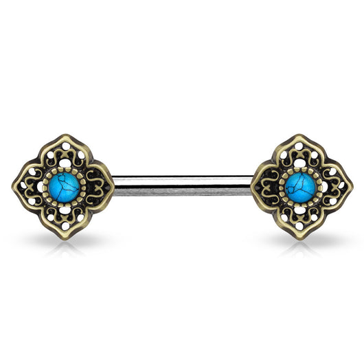 Pair of Turquoise Centered Tribal Flower Ends Nipple Barbells