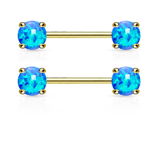 Pair of Opal Prong Front Facing 14KT Gold Plated Barbell Nipple Rings