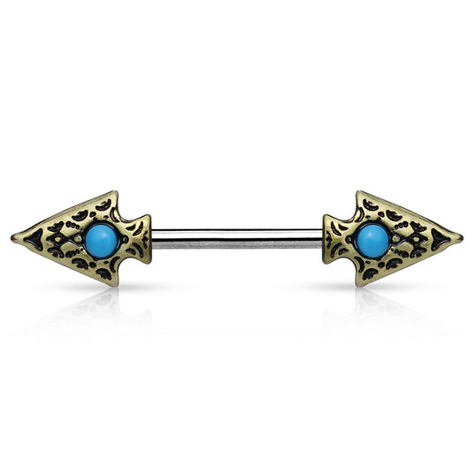 Pair of Turquoise Tribal Spear Surgical Steel Nipple Rings Barbells