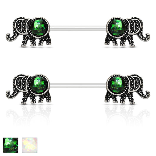 Pair of Elephant with Opal Glitter Barbell Nipple Rings