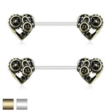 Pair of Heart Steampunk Barbell Nipple Rings
