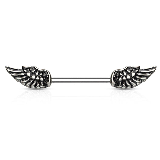 Pair of Angel Wings Barbell Nipple Rings
