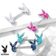 Pair of Druzy Stone Filled Playboy Bunny Nipple Ring Barbells