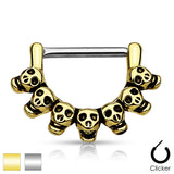 Pair of Lined Skull 316L Surgical Steel Nipple Clicker