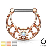 Pair of Opal Sunburst Filigree Surgical Steel Nipple Ring Clickers
