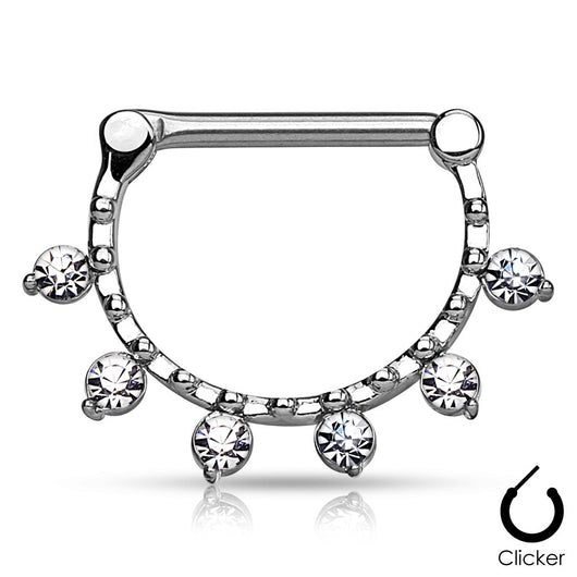 Pair of CZ Hanging Beaded Line Surgical Steel Nipple Rings Clickers