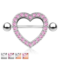 Pair Multi CZ Paved Heart Nipple Shield Nipple Rings