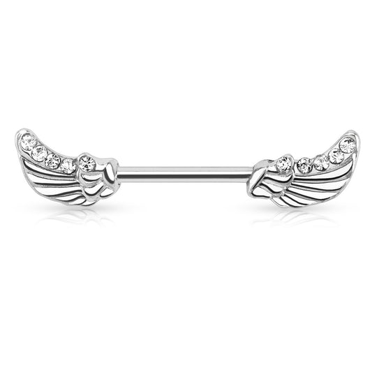 Pair of Angels Wings CZ Surgical Steel Barbell Nipple Rings