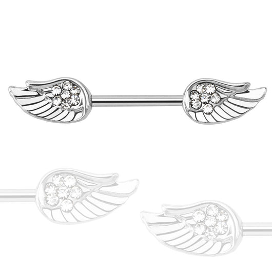 Pair of Angel Wings with Paved CZ 316L Surgical Steel Nipple Bar