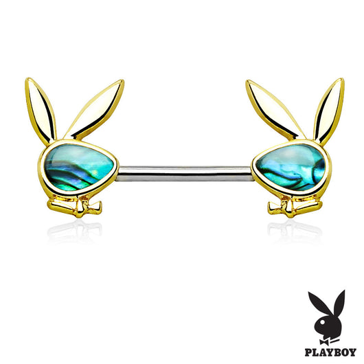 Pair of Abalone Playboy Bunny Ends Surgical Steel Nipple Ring Barbell