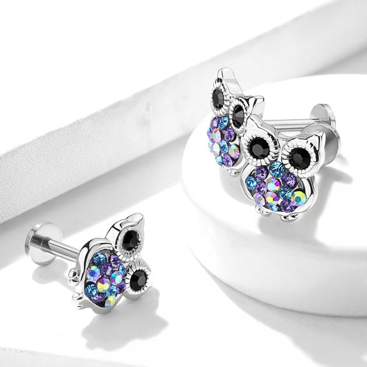 Color CZ Owl Top Internally Threaded Labret, Monroe Ear Cartilage Helix Tragus Barbell