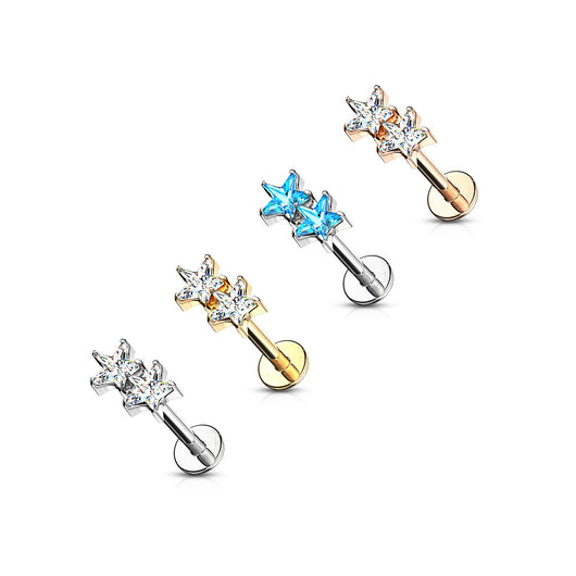 Twin CZ Star Internally Threaded Labret Tragus Snug Ear Cartilage Helix Studs
