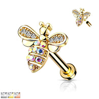 CZ Paved Bee Internally Threaded Labret Tragus Snug Ear Cartilage Helix Studs