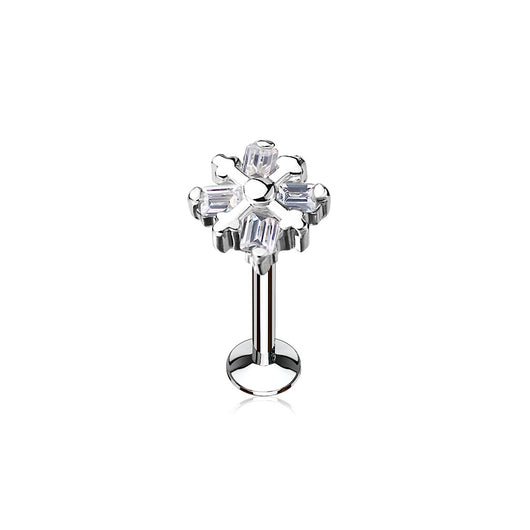 CZ Top Internal Threaded Labret Monroe Cartilage Daith Tragus Studs