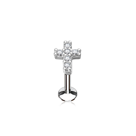 CZ Cross Internal Threaded Labret Monroe Cartilage Daith Tragus Studs