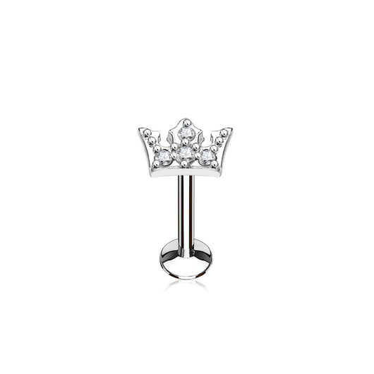 CZ Crown Internal Threaded Labret Monroe Cartilage Daith Tragus Studs