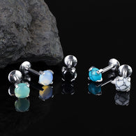 4 mm Semi Precious Stone Prong Set Lip Labret Cartilage Tragus Stud Rings