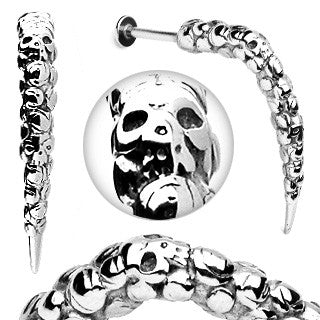 Artistic Skull Carved Long Claw Labret 316L Surgical Steel