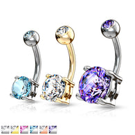 Double Gemmed Solitaire Round CZ Surgical Steel Belly Button Navel Rings