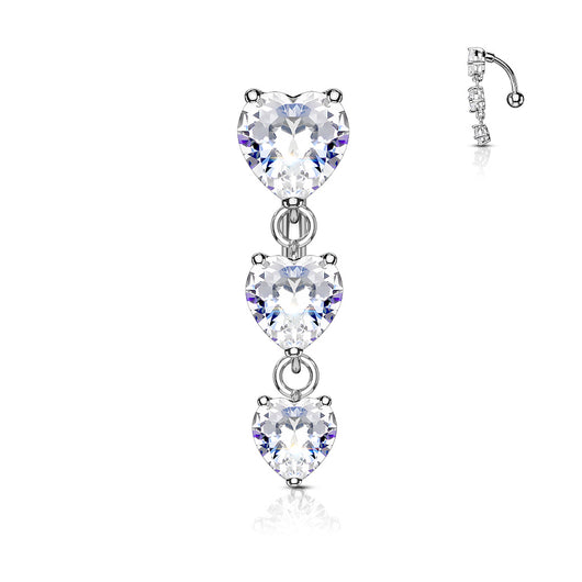 Three Heart CZ Vertical Drop Belly Button Navel Rings