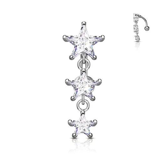 Three Stars CZ Vertical Drop Belly Button Navel Rings