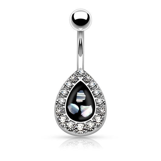 CZ Tear Drop Mother of Pearl Surgical Steel Navel Belly Button Rings