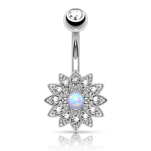 Petite Crystal Paved Flower with Opal Center Navel Belly Button Rings
