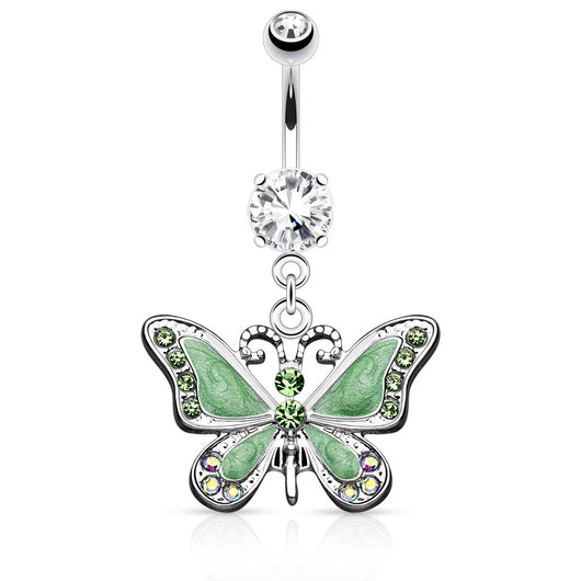 CZ Butterfly Dangle Dangle Surgical Steel Belly Button Navel Rings