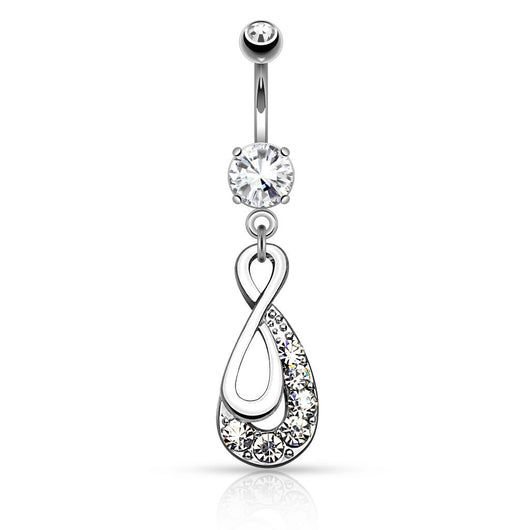 Infinity Drop with Paved Gems Dangle Navel Belly Button Ring