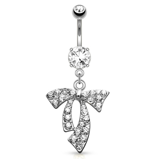 Clear Gem Paved Ribbon Dangle Navel Belly Button Ring