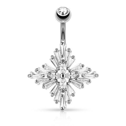 Princess Cut CZ Diamond Cross 14K Gold Plated Navel Belly Button Ring