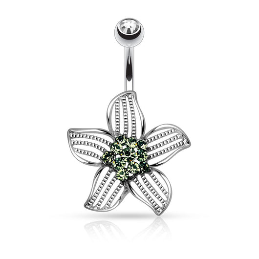Flower's Petal Beads CZ Navel Belly Button Ring