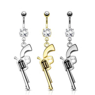 Gun Dangle Clear CZ Top Surgical Steel Navel Belly Button Ring