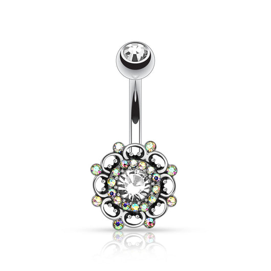 Vintage Swirl CZ Surgical Steel Navel Belly Button Ring