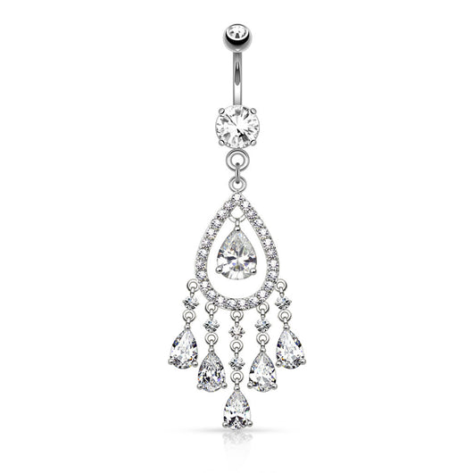 Multi Tear Drop CZ Chandelier Dangle Navel Belly Button Ring