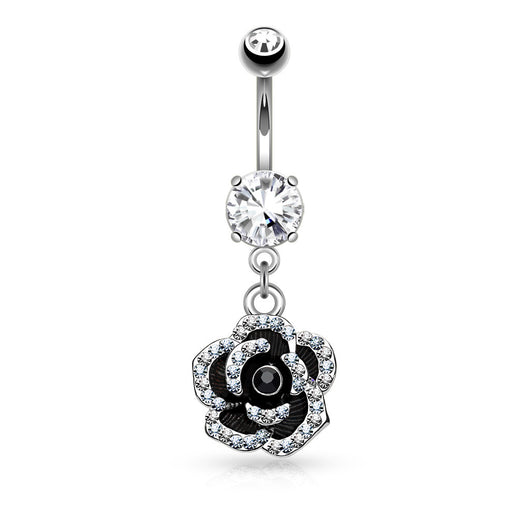 CZ Petals Flower Dangle Surgical Steel Belly Button Navel Rings