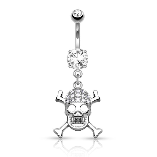 CZ Skull Cross Bones Dangle Surgical Steel Belly Button Navel Rings