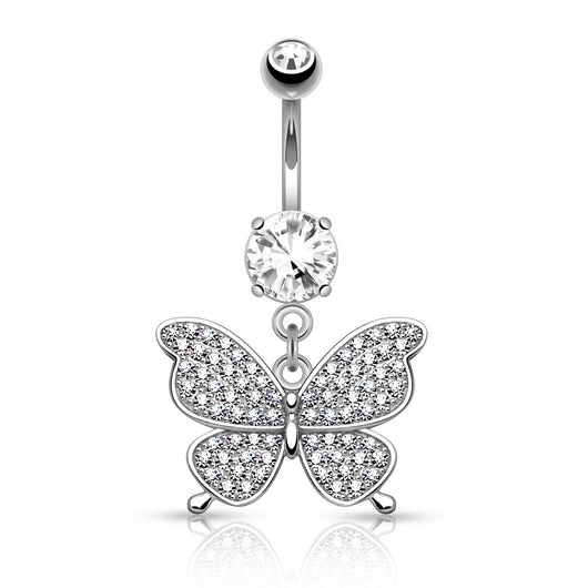 CZ Butterfly Dangle Surgical Steel Belly Button Navel Rings