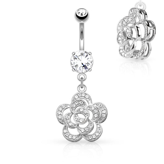 CZ Petals Camellia Dangle Belly Button Navel Rings