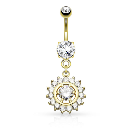 Claw Set CZ Dangle Surgical Steel Belly Button Navel Rings
