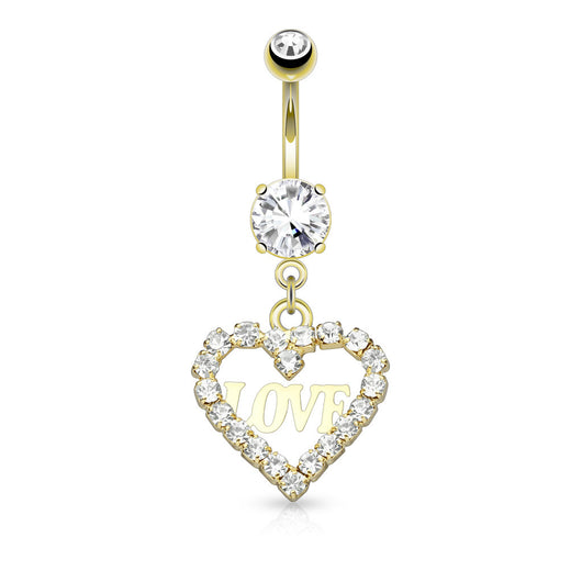 CZ Hollow Heart Love Dangle Surgical Steel Belly Button Navel Rings