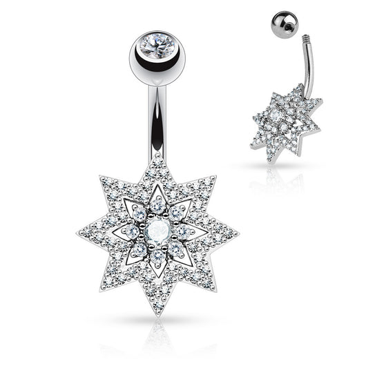 Micro Pave CZ Sunburst Surgical Steel Navel Belly Button Rings