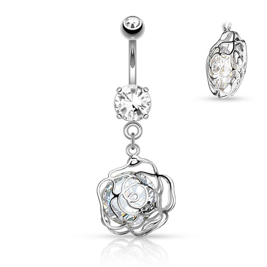 CZ Camellia Flower Dangle Surgical Steel Belly Button Navel Rings
